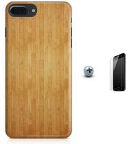 Kit Capa Case TPU iPhone 7 Plus - Madeira + Pel Vidro (BD50) - Bd cases