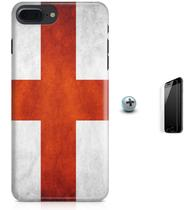 Kit Capa Case TPU iPhone 8 Plus - Bandeira Inglaterra + Pel Vidro (BD30) - Bd cases