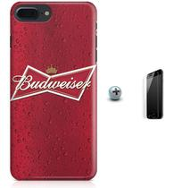 Kit Capa Case TPU iPhone 8 Plus - Budweiser Beer + Pel Vidro (BD30) - Bd cases