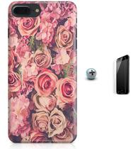 Kit Capa Case TPU iPhone 8 Plus - Flores Flowers + Pel Vidro (BD30) - Bd cases