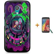 Kit Capa Case TPU Moto G2 XT1078/XT1079/XT1069/XT1068 Rick And Morty + Pel Vidro (BD01) - Skin t18