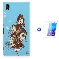 Kit Capa Case TPU Xperia M4 Aqua - Beatles + Pel Vidro (BD01) - Bd cases