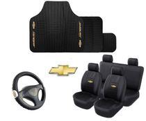 Kit Capa Couro Banco Carro Tapete Volante Chevrolet - Rekar