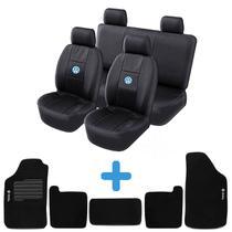 Kit Capa De Banco Couro Para Carro Gol G2 G3 G4 Bola + Tapete Carpete Bordado Volkswagen Vw - Poliparts