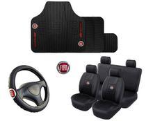 Kit Capa De Banco + Tapete + Volante Automotivo Fiat - Rekar