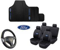 Kit Capa De Banco + Tapete + Volante Automotivo Ford - Rekar