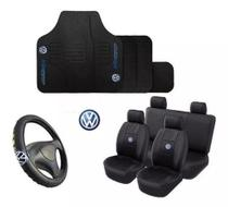 Kit Capa De Banco + Tapete + Volante Automotivo   VOLKSWAGEN GOL G2 G3 G4 G5 G6 G7 2014 - Caverna Car