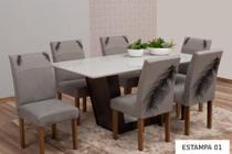 Kit Capa de Cadeira 6 Lugares Estampada Para Mesa de Cozinha - Casa Império