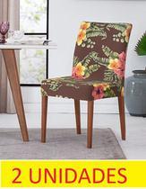 Kit capa de cadeira malha gel floral 2 peças adomes -
