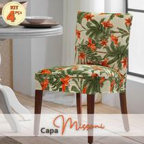 Kit Capa de Cadeira MissLírio Malha Suplex c/ Elástico 4 Pçs - Adomes