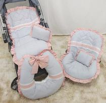Kit Capa de Carrinho+Capa para Bebê Conforto 100% Algodão Luxo Renda Rosê - Bruna Baby