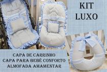 Kit Capa de Carrinho+Capa para Bebê Conforto+Amamentar 100% Algodão Luxo Renda Azul - Bruna Baby
