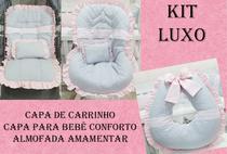 Kit Capa de Carrinho+Capa para Bebê Conforto+Amamentar 100% Algodão Luxo Renda Rosa - Bruna Baby