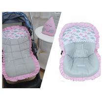 Kit Capa de Carrinho com Bebê Conforto 100% Algodão Nuvens Rosa - Bruna Baby