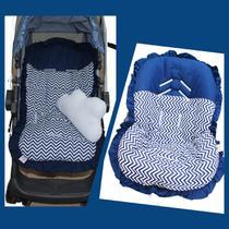 Kit Capa de Carrinho com Capa Para Bebê Conforto 100% Algodão Chevron Marinho - Bruna Baby