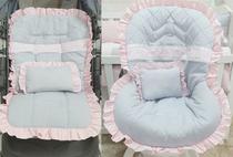 Kit Capa de Carrinho com Capa para Bebê Conforto 100% Algodão Menina Luxo Renda Rosa - Bruna Baby