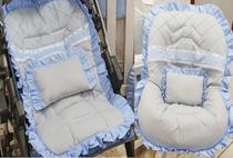 Kit Capa de Carrinho com Capa para Bebê Conforto 100% Algodão Menino Luxo Renda Azul - Bruna Baby