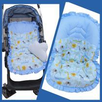 Kit Capa de Carrinho com Capa para Bebê Conforto 100% Algodão Safári Azul - Bruna Baby