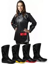 Kit Capa de Chuva Feminina Alba Europa + Bota Motosafe PVC Motociclista - Alba + Motosafe