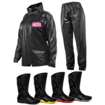 e54bdb158fd Kit Capa de Chuva Feminina Delta + Bota Motosafe PVC Motociclista
