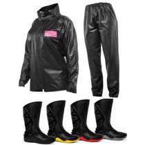 Kit Capa de Chuva Feminina Delta + Bota Motosafe PVC Motociclista - Delta e Motosafe