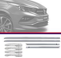 Kit Capa de Maçaneta Cromada Com Friso Inferior Cromado Fiat Cronos 2017 18 Modelo Igual Top de Linha - Carliza