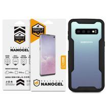 Kit Capa Dual Shock e Película de Nano Gel Dupla para Samsung Galaxy S10 Plus - Gshield -
