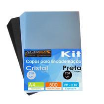 Kit Capa encadernação A4 - Preta Couro + Cristal Line 500un - Marpax