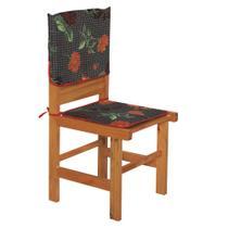 Kit Capa Encosto e Assento Para Cadeira Estampa Flores - Outfiter