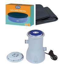 Kit Capa + Filtro 2.200 L/h Para Piscina Splash Fun 2400 Litros - Mor -
