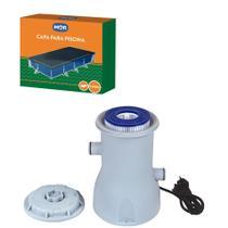 Kit Capa + Filtro Bomba 2.200 L/h Para Piscina Premium 5000 Litros - Mor -