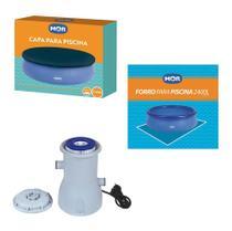 Kit Capa + Forro + Filtro 2.200 L/h Para Piscina Splash Fun 2400 Litros - Mor -