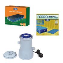 Kit Capa + Forro + Filtro Bomba 2.200 L/h Para Piscina Premium 5000 Litros - Mor -