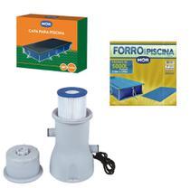 Kit Capa + Forro + Filtro Bomba 3.600 L/h Para Piscina Premium 5000 Litros - Mor -