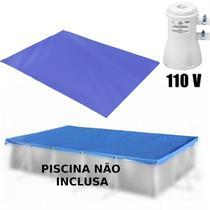 Kit Capa + Forro para Piscina Retangular 3700 L + Filtro 110v Mor -
