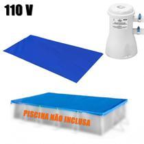 Kit Capa + Forro para Piscina Retangular 5000 L Mor + Bomba Filtrante 110 V -