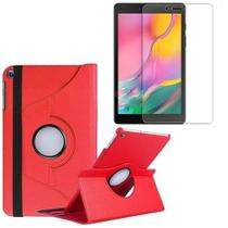 Kit Capa Giratória Vermelha + Película de Vidro Blindada Samsung Galaxy Tab A 8.0' T290 T295 -