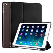 Kit Capa Ipad Air 2 2014 A1566 A1567 Tela 9.7 Smart Porta Pencil Emborrachada Case Preta + Pelicula - Extreme Cover