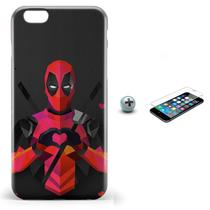 Kit Capa iPhone 6/6S Deadpool Marvel + Pel Vidro (BD30) - Bd cases