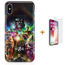 Kit Capa iPhone X - Infity War Vingadores + Pel Vidro B30 - Bd cases