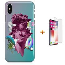 Kit Capa iPhone X - Vaporwave 90s Floral + Pel Vidro B30 - Bd cases
