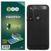 Kit Capa Iwill Carbon Fiber M4DE + Película HPrime FiberPro para Motorola One Macro - Hprime / Iwill