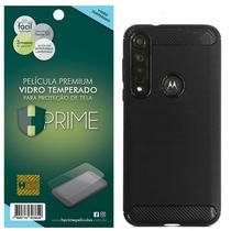 Kit Capa Iwill Carbon Fiber M4DE + Película HPrime Vidro Temperado para Motorola G8 Plus - Hprime / Iwill