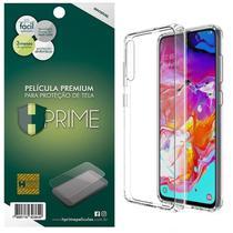 Kit Capa Lift Crystal Hybrid + Película HPrime PET Invisível para Samsung Galaxy A70 - Hprime / Lift Cases