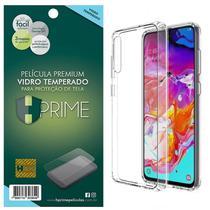 Kit Capa Lift Crystal Hybrid + Película HPrime Vidro Temperado para Samsung Galaxy A70 - Hprime / Lift Cases