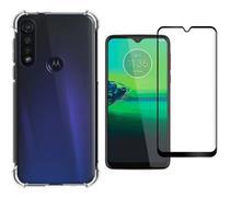 Kit Capa Motorola Moto G8 Play / One Macro Rígida Anti Impacto + Película 3D - Transparente Com Bordas Antishock - Atouchbo