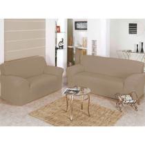 Kit capa para sofá 2 e 3 lugares ( lisa / coladinha ) malha grossa - Enxovais Fanti