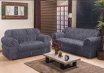 Kit capa para sofá franzida  2 e 3 lugares king - malha grossa - Enxovais Fanti