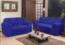 Kit capa para sofá franzida  2 e 3 lugares king - malha grossa - mtm enxovais - Peixe