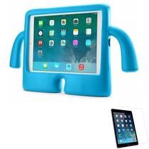 """Kit Capa Protetor Infantil """"Mãozinha""""para iPad 7 geração 10,2"""" + Película de Vidro (Azul) - Global Cases"""